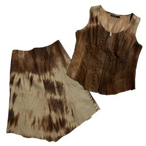 Marccain Cow Girl Western 2 Piece Leather Set